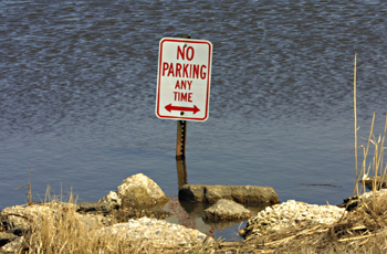 No parking sign in the water